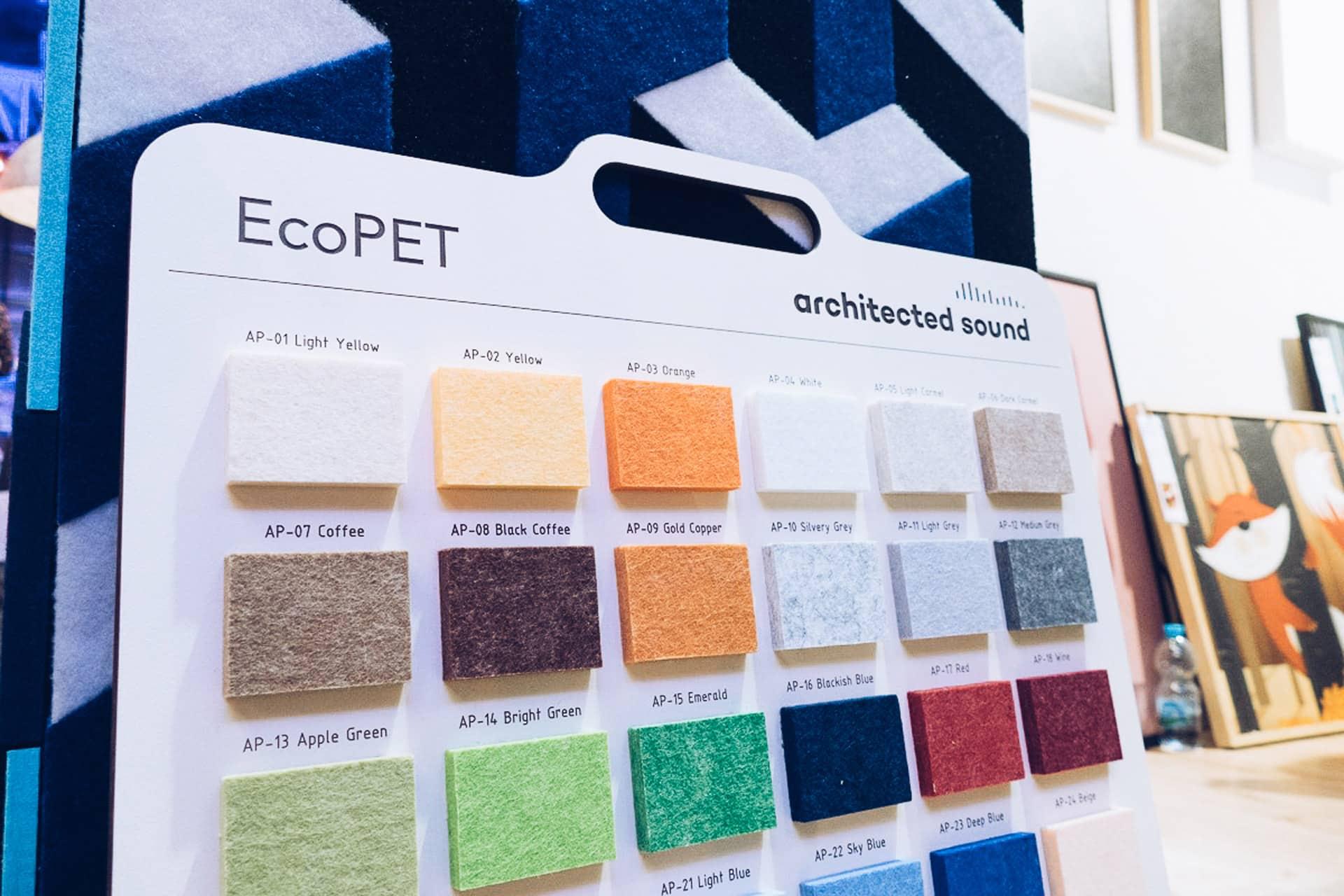 Wzornik kolorów panelu dźwiękochłonnego EcoPET, który prezentowaliśmy na targach 4 Design Days.