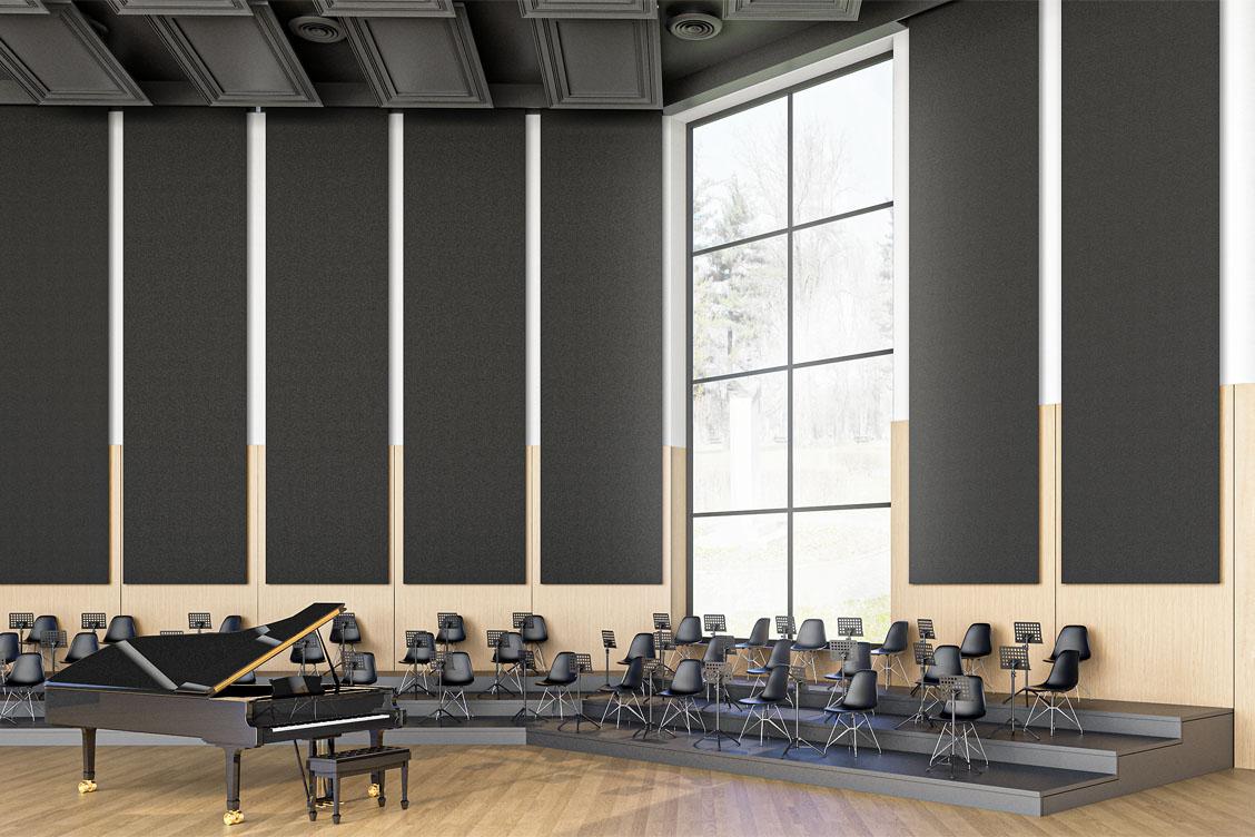Wizualizacja sali koncertowej, w której zastosowano automatyczny system rozwijanych banerów akustycznych Up-sorber Roll w celu polepszenia akustyki pomieszczenia