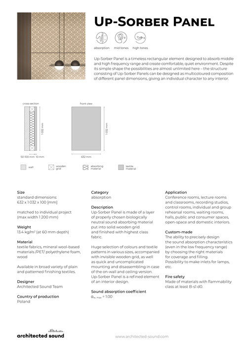 Architected Sound Up-Sorber Wall sound absorbing panel - Thumbnail cover of product sheet