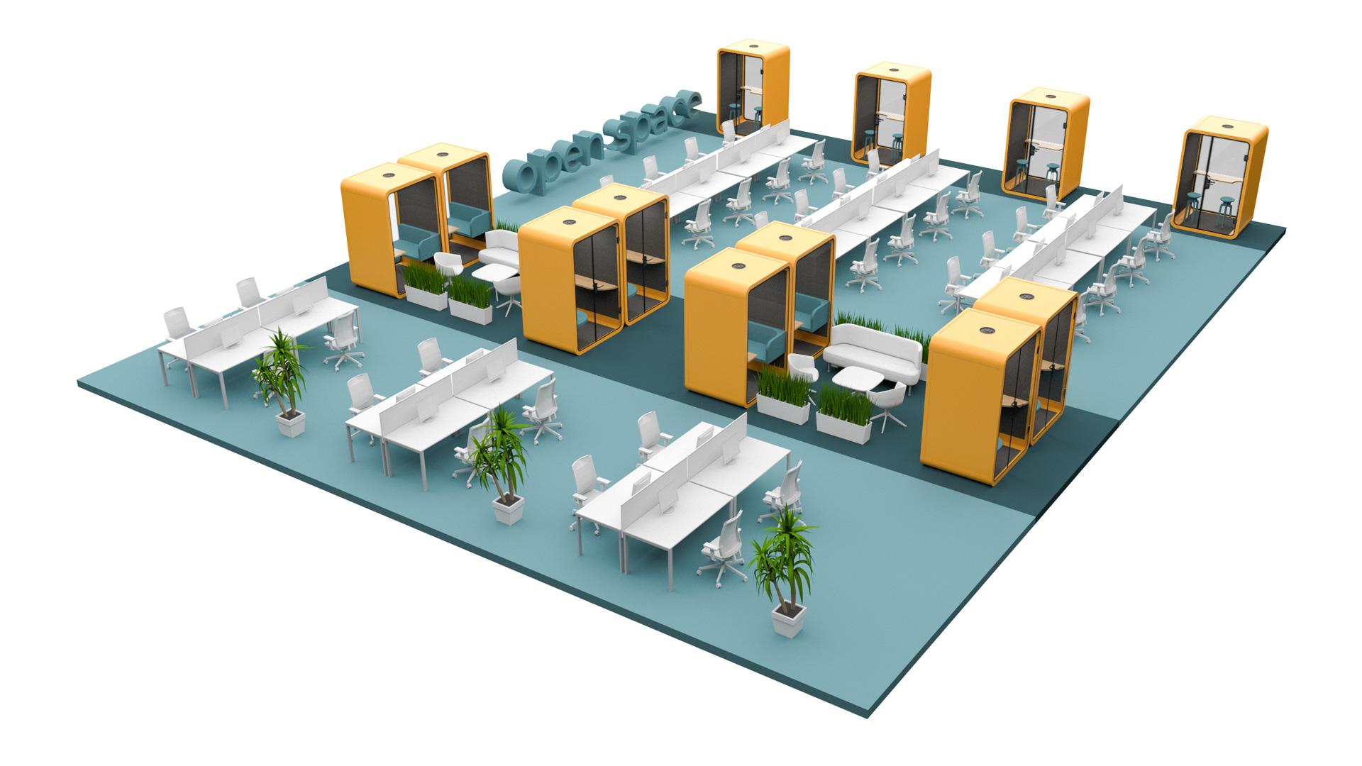Przykład wizualny zastosowania budki akustycznej Silent Room w biurze typu open space