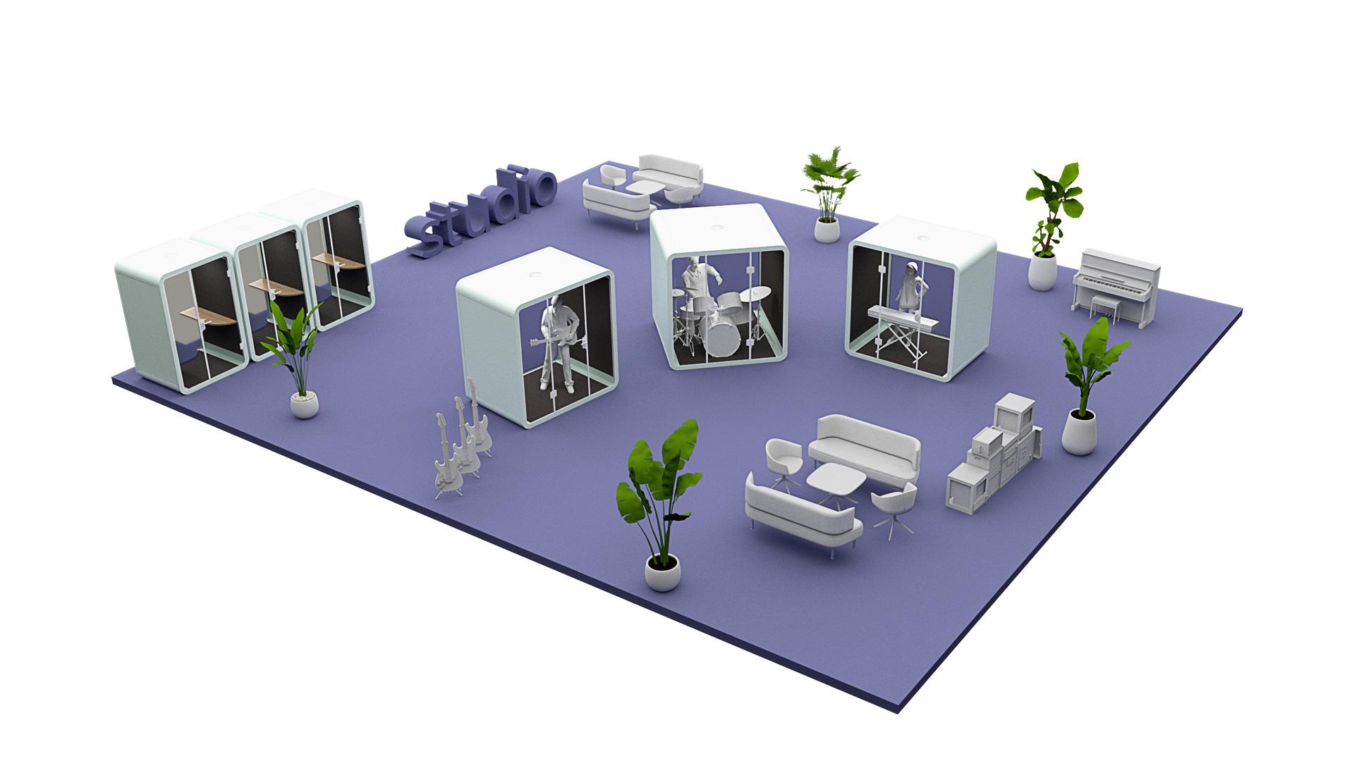 Przykład wizualny zastosowania budki akustycznej Silent Room w studio