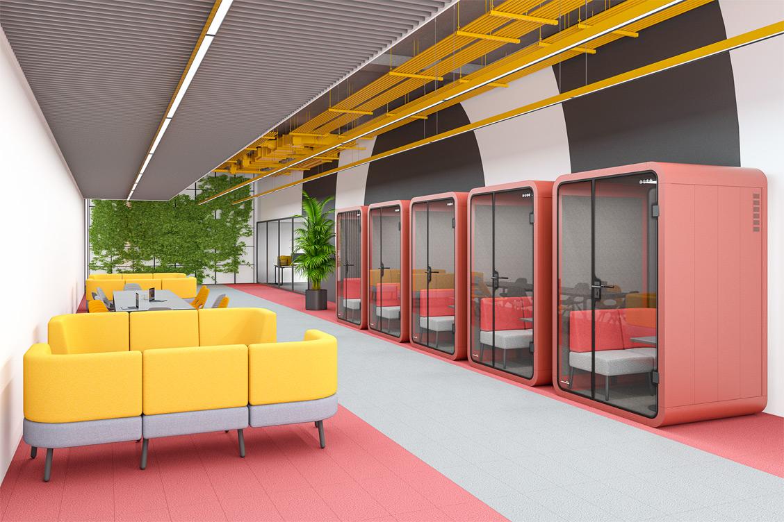 Wizualizacja budki akustycznej w biurze typu open space