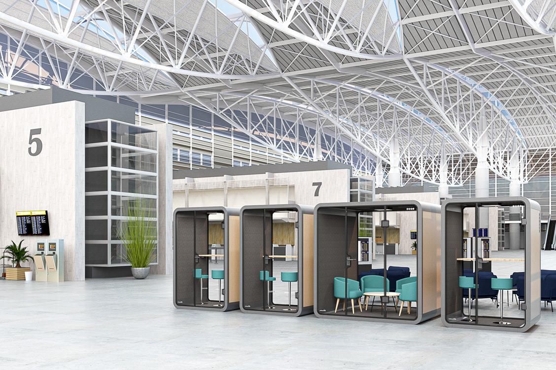 Wizualizacja budki akustycznej na lotnisku
