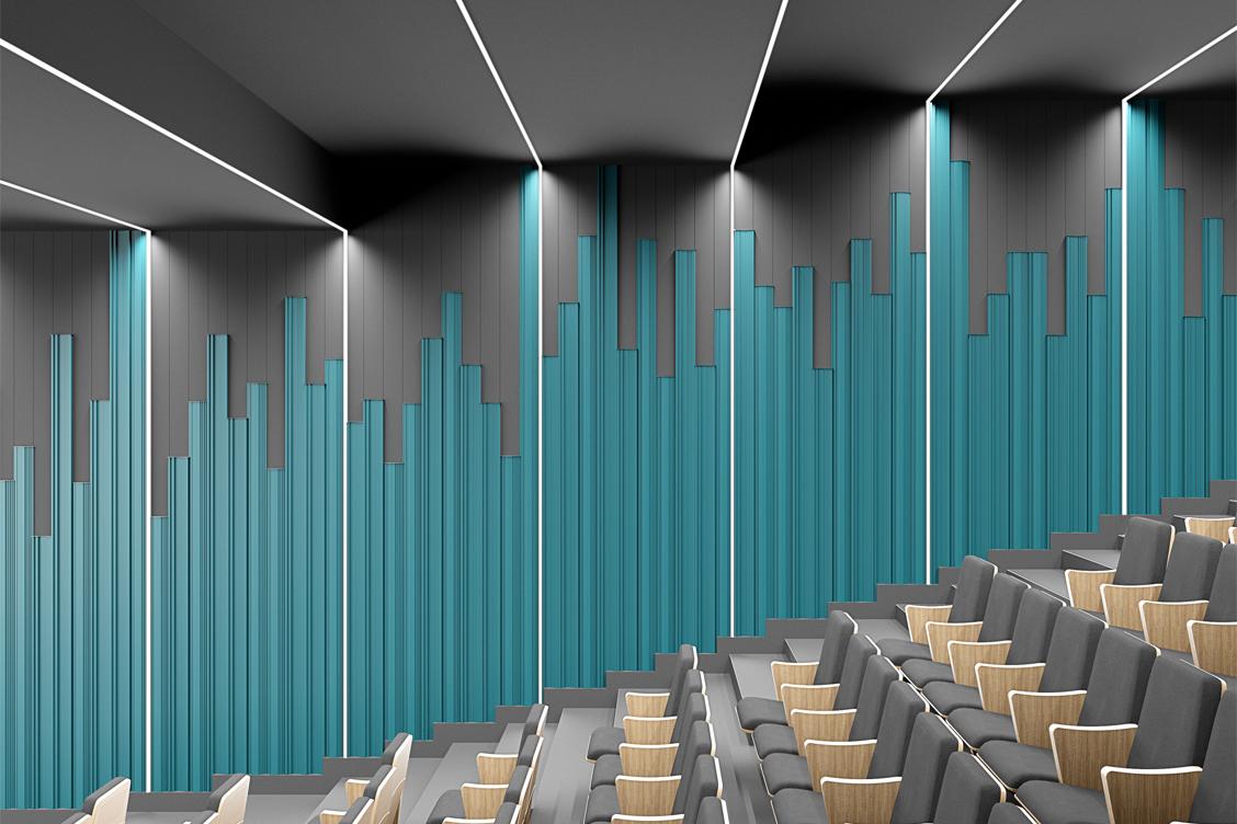 Aula wykładowa z zastosowaniem dyfuzora akustycznego OptiDi