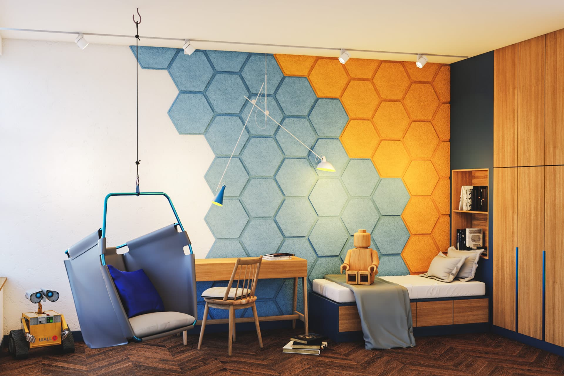 Panel ścienny dźwiękochłonny EcoPET z efektem 3D na ścianie w pokoju dziecięcym