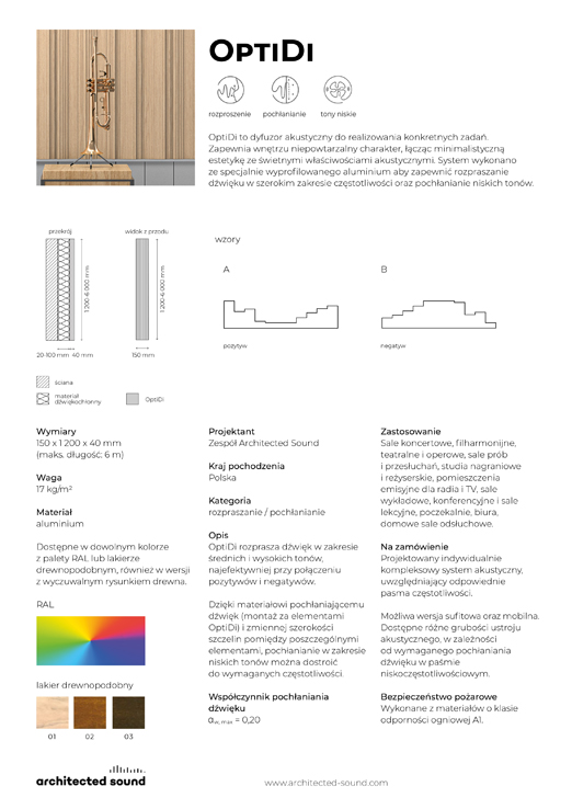 Miniaturka okładki karty katalogowej panelu akustycznego OpiDi