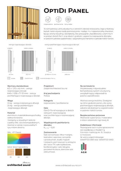 Miniaturka okładki karty katalogowej panelu akustycznego OptiDi Panel