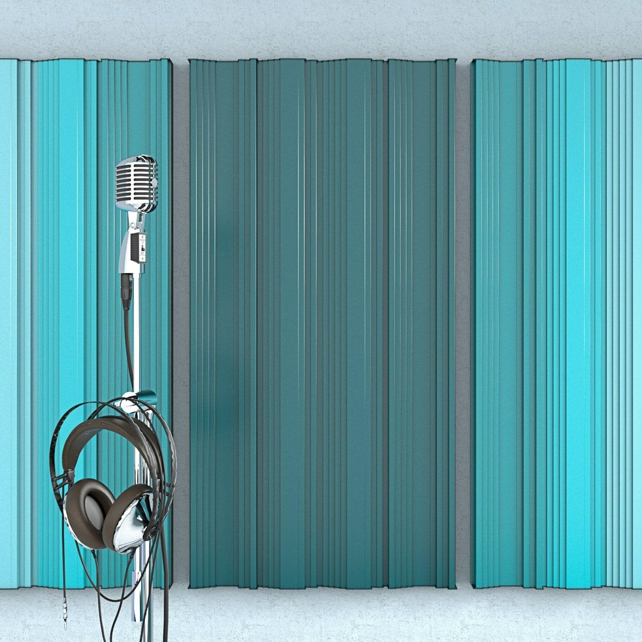 Wizualizacja modułowego panelu akustycznego OptiDi Panel zastosowanego na ścianie w sali prób