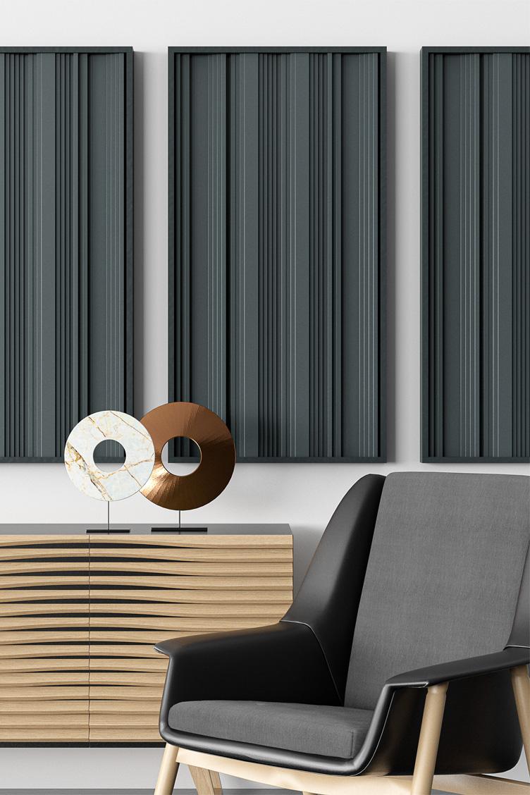 Wizualizacja modułowego panelu akustycznego OptiDi Panel zastosowanego na ścianie w salonie