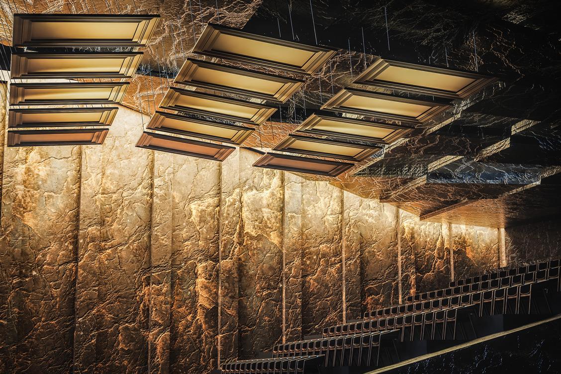Wizualizacja sali koncertowej w filharmonii, w której zastosowano panele akustyczne odbijające Reffuzor