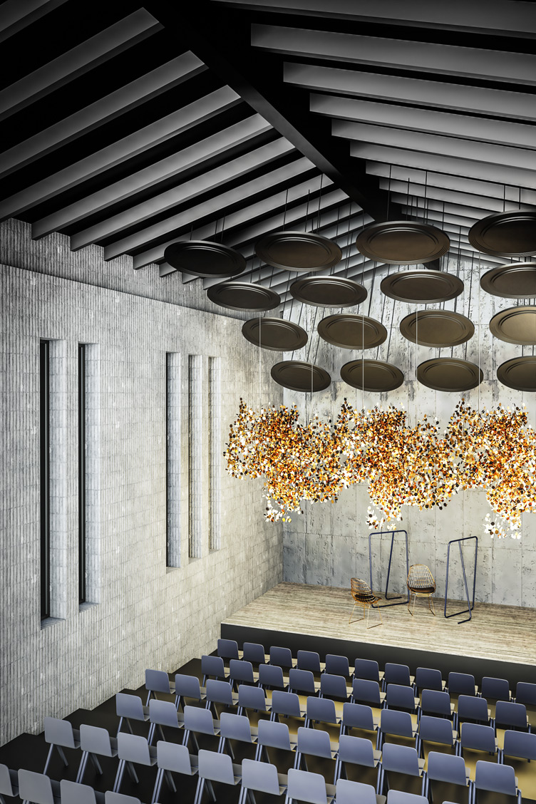 Wizualizacja sali teatralnej, w której zastosowano panele akustyczne odbijające Reffuzor