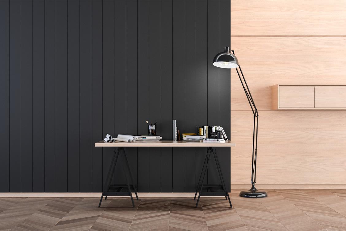 Wizualizacja adaptacji akustycznej domowego biura z wykorzystaniem panelu akustycznego SlotBar