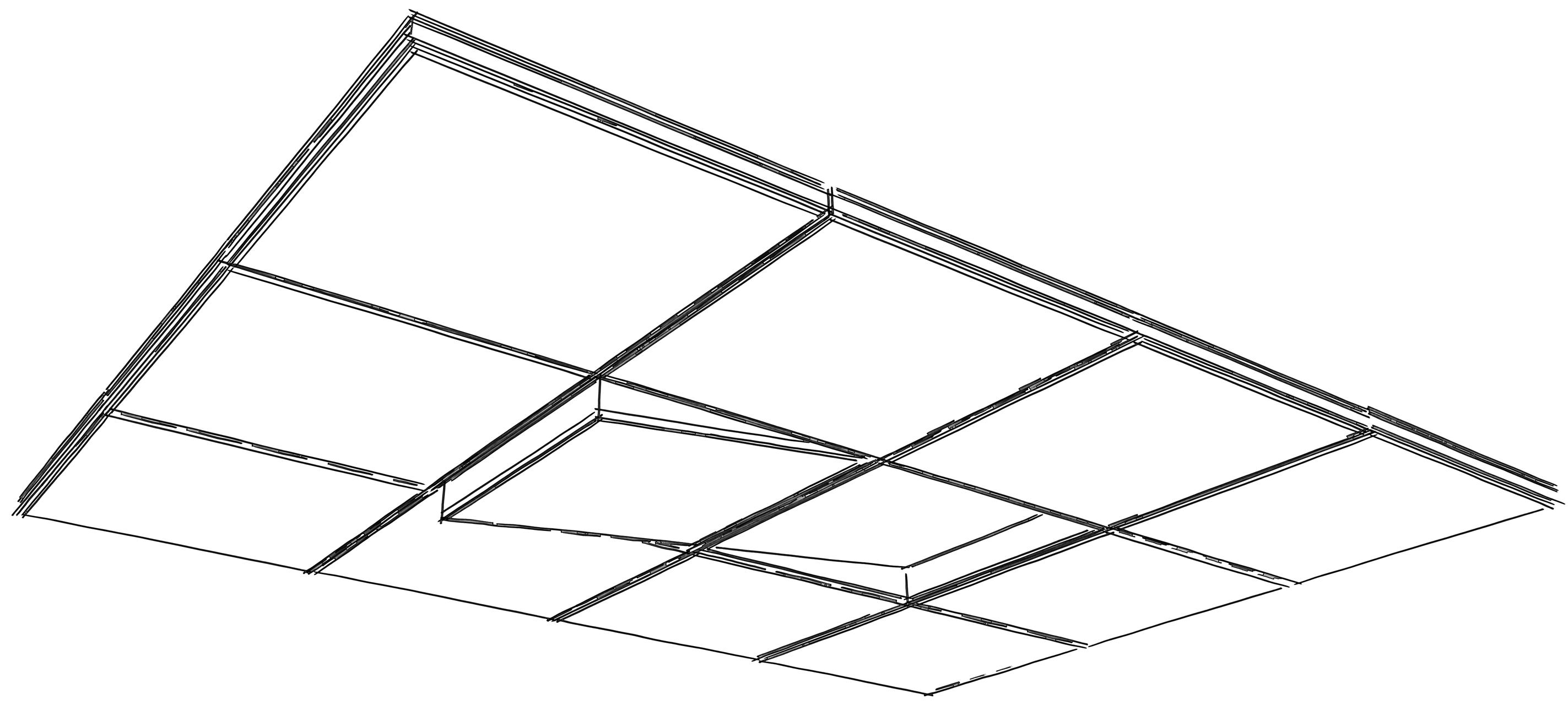 Przykład montażu panelu akustycznego Tilt 7 na suficie