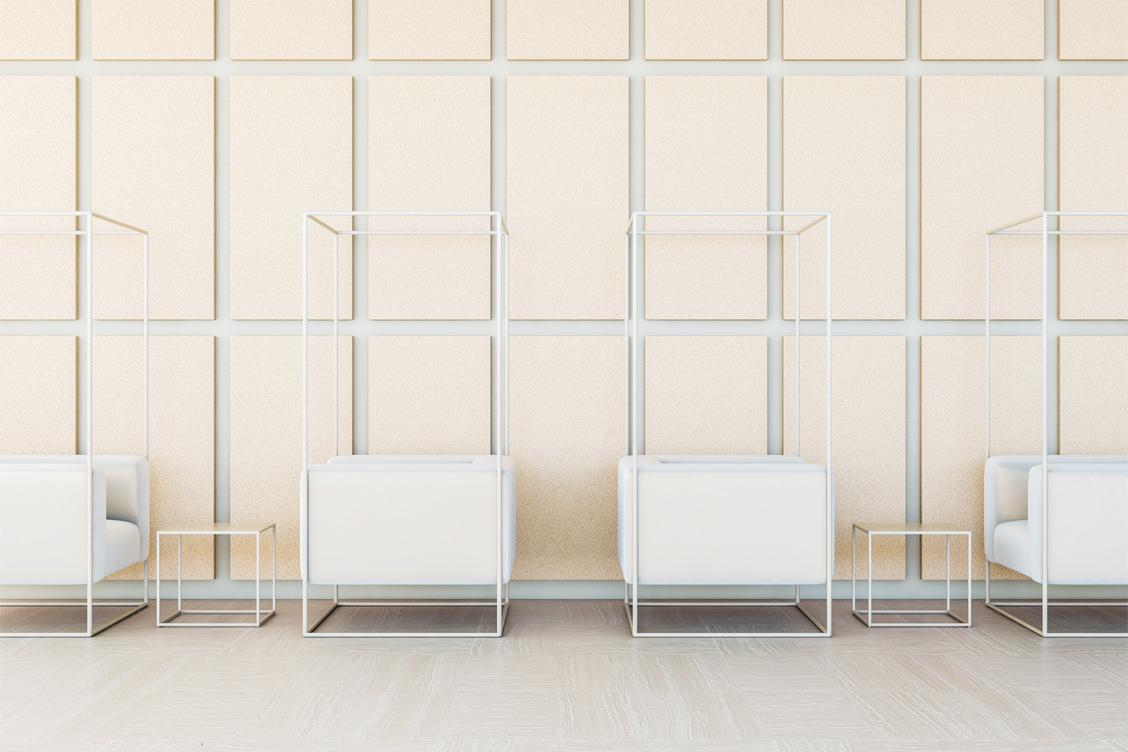 Wizualizacja adaptacji akustycznej poczekalni z zastosowaniem paneli akustycznych Up-Sorber Panel