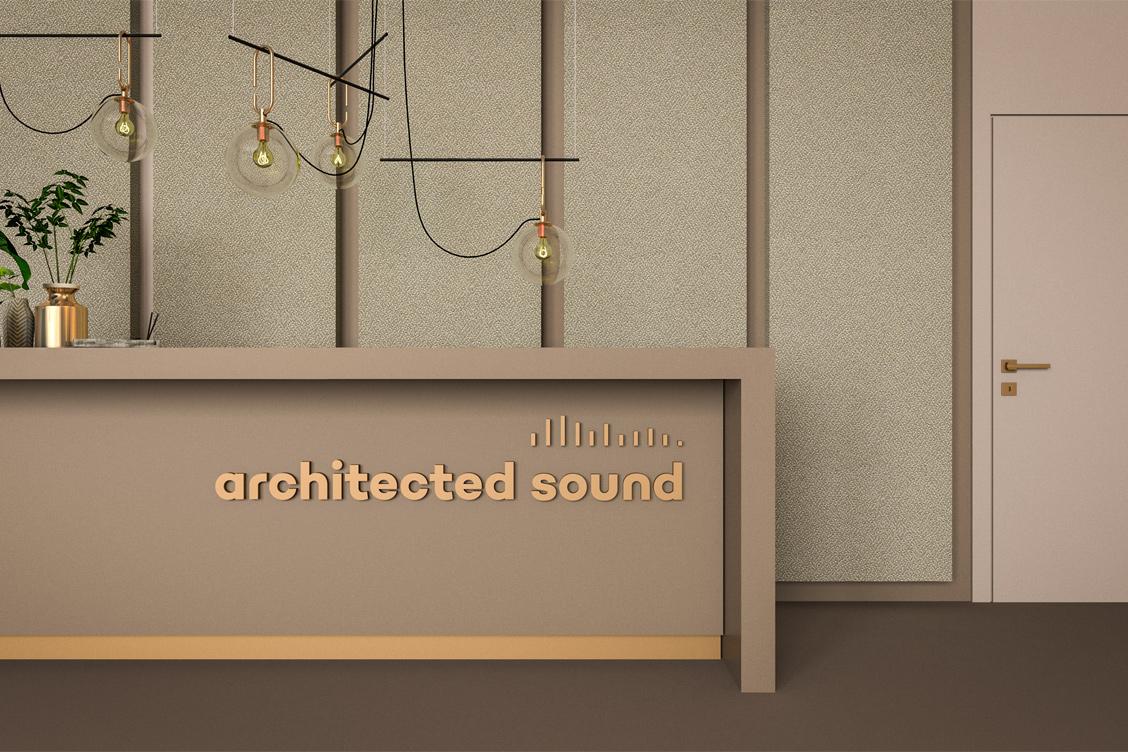 Wizualizacja adaptacji akustycznej recepcji z zastosowaniem paneli akustycznych Up-Sorber Panel