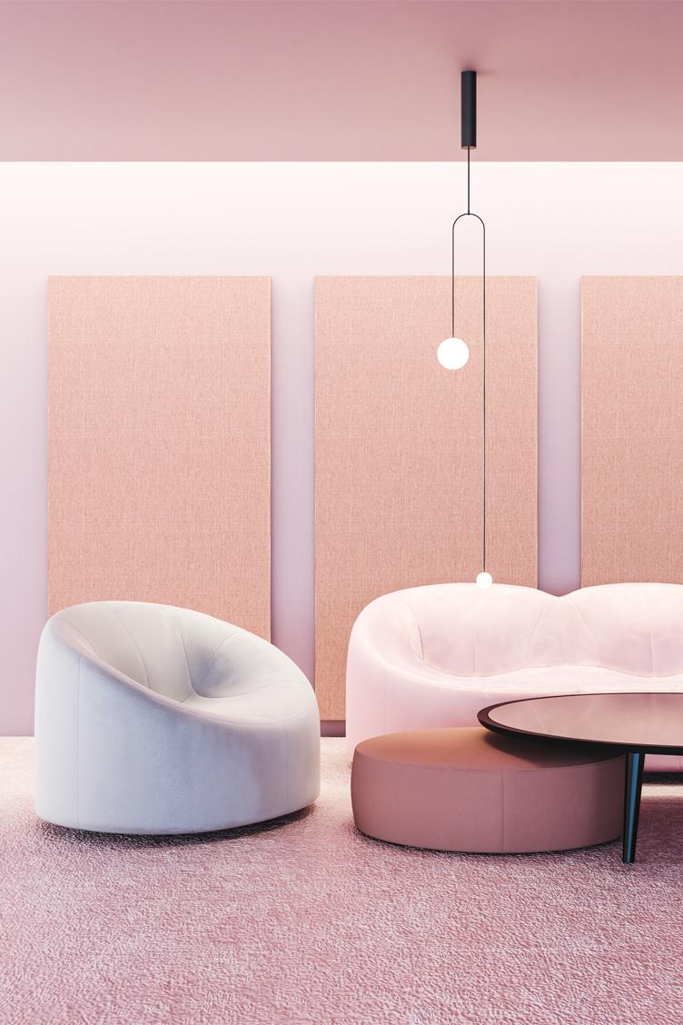 Wizualizacja adaptacji akustycznej salonu z zastosowaniem paneli akustycznych Up-Sorber Panel