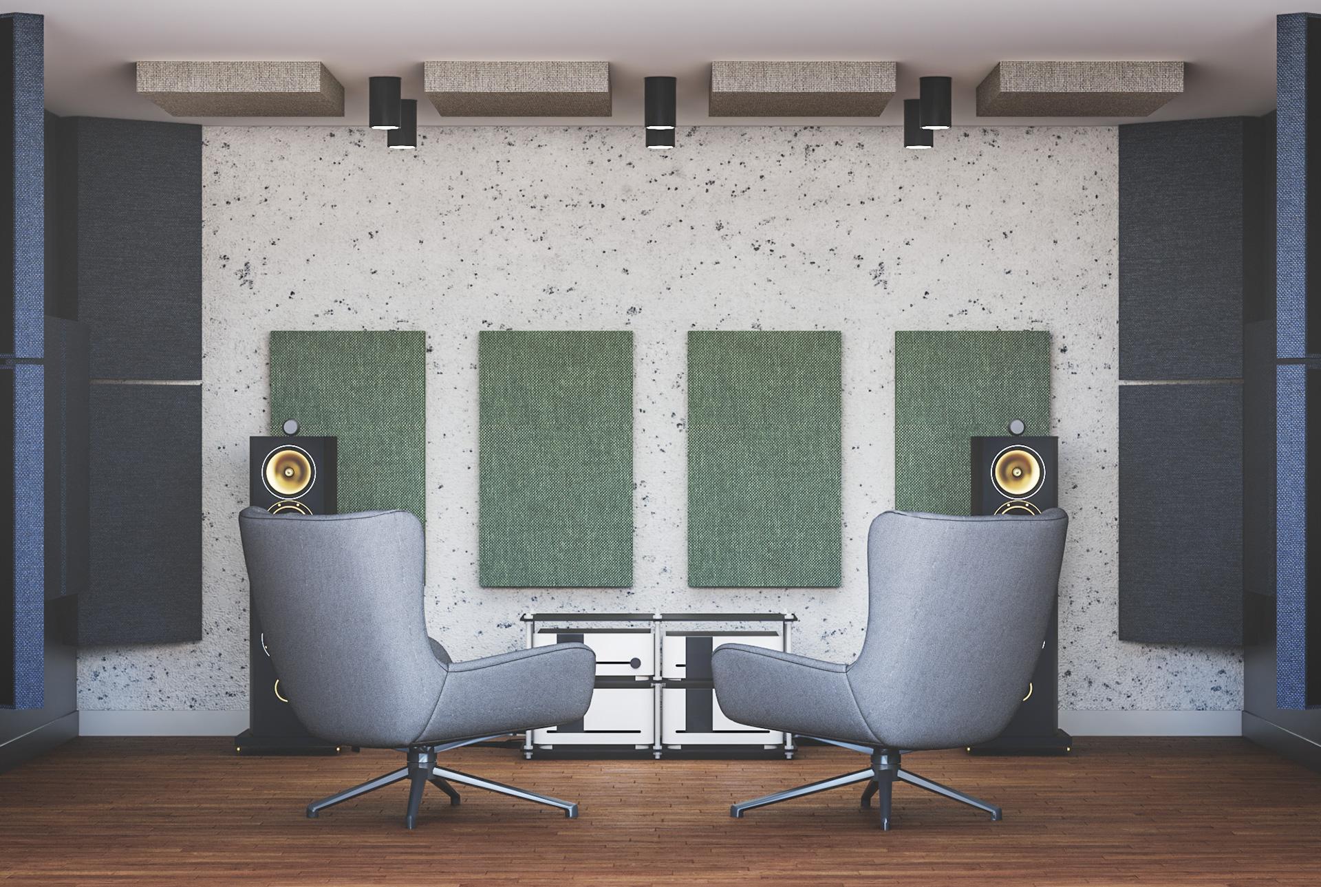Wizualizacja adaptacji akustycznej pokoju odsłuchowego z zastosowaniem paneli pochłaniających Up-Sorber Panel