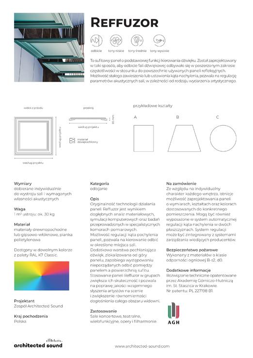 Miniaturka okładki karty katalogowej panelu akustycznego Reffuzor