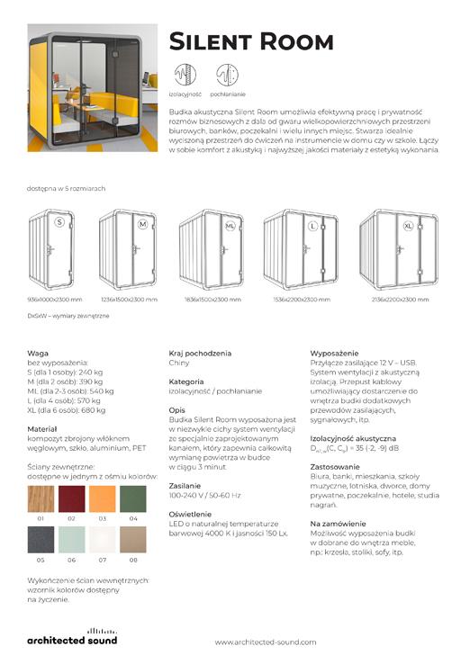 Miniatura okładki karty katalogowej budki akustycznej Silent Room