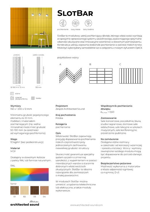 Miniaturka okładki karty katalogowej panelu akustycznego SlotBar