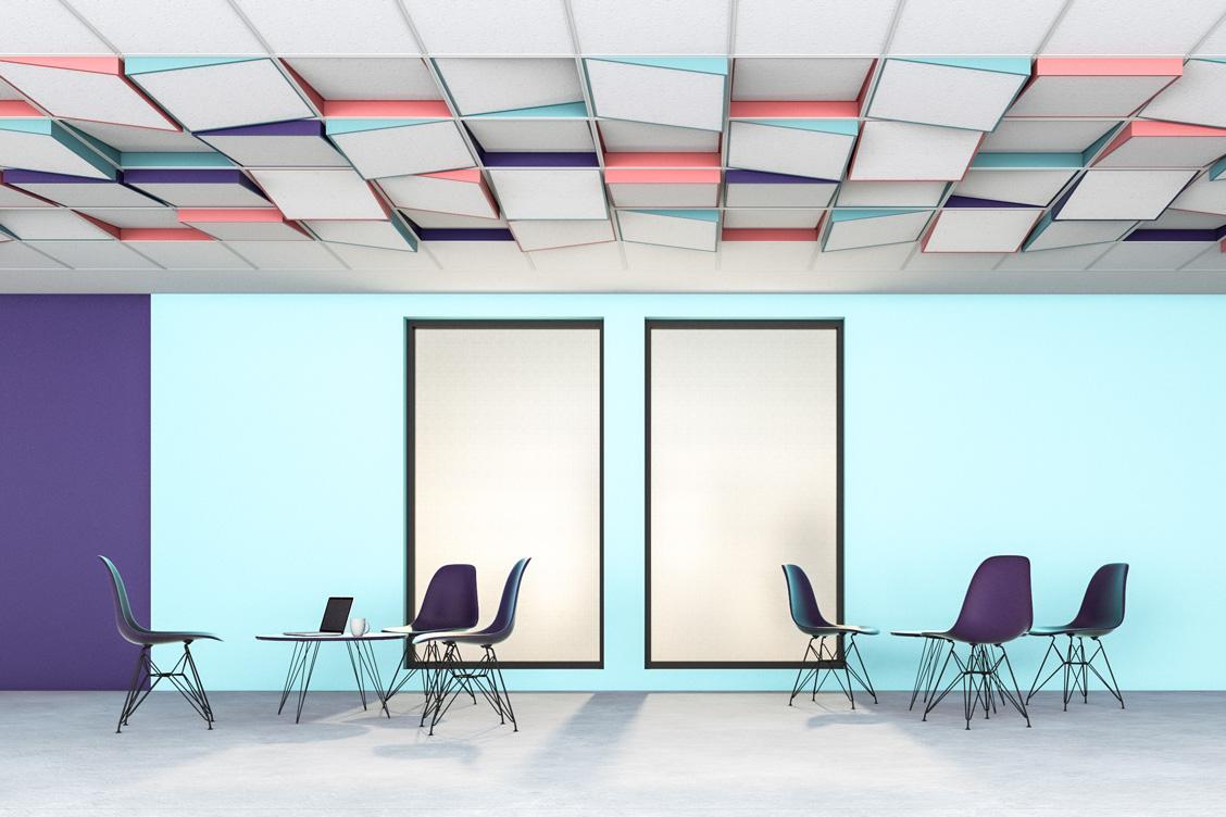 Wizualizacja adaptacji akustycznej sufitu sali konferencyjnej z zastosowaniem paneli akustycznych Tilt7
