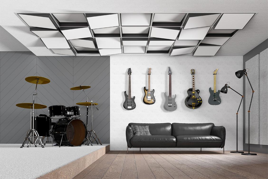 Wizualizacja adaptacji akustycznej sufitu sali prób z zastosowaniem paneli akustycznych Tilt7