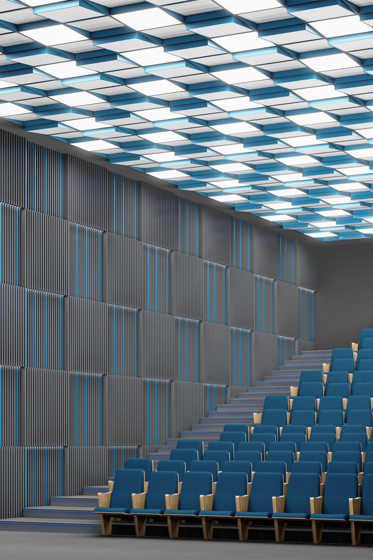 Wizualizacja adaptacji akustycznej sufitu sali teatralnej z zastosowaniem paneli akustycznych Tilt7