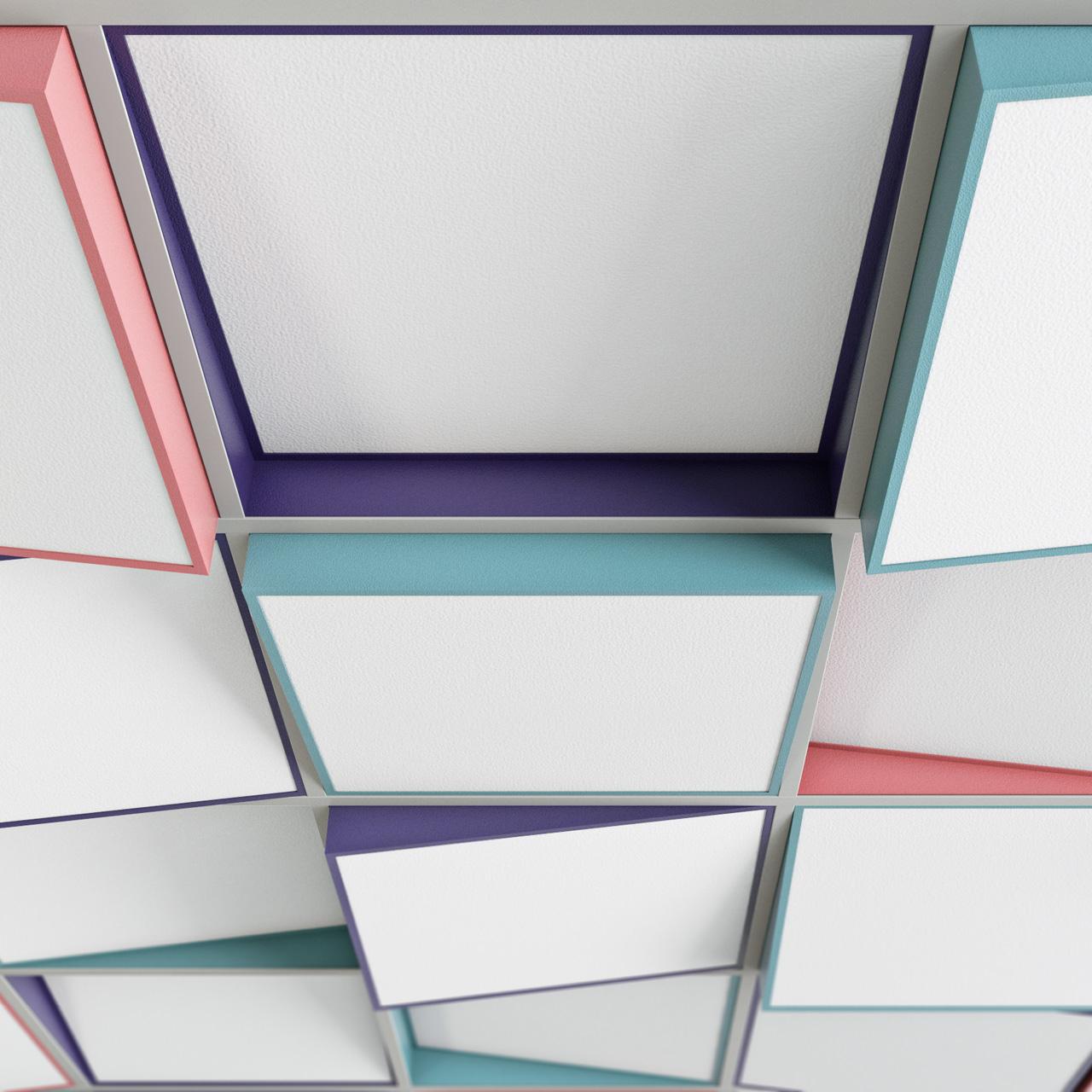 Wizualizacja adaptacji akustycznej sufitu z wykorzystaniem ramy sufitowej Tilt7