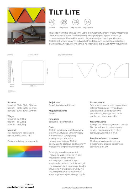 Miniaturka okładki karty katalogowej panelu akustycznego Tilt Lite