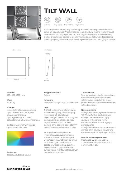 Miniaturka okładki karty katalogowej panelu akustycznego Tilt Wall