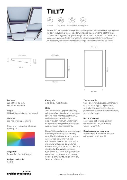 Miniaturka okładki karty katalogowej panelu akustycznego Tilt7