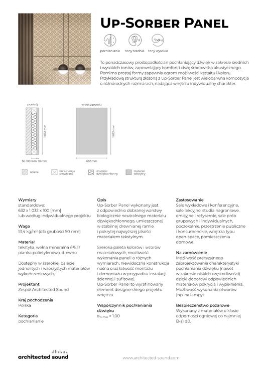 Miniatura okładki karty katalogowej panelu akustycznego Up-Sorber Panel