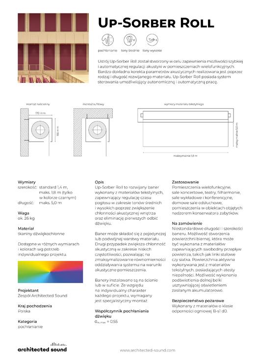 Miniatura okładki karty katalogowej baneru akustycznego Up-Sorber Roll