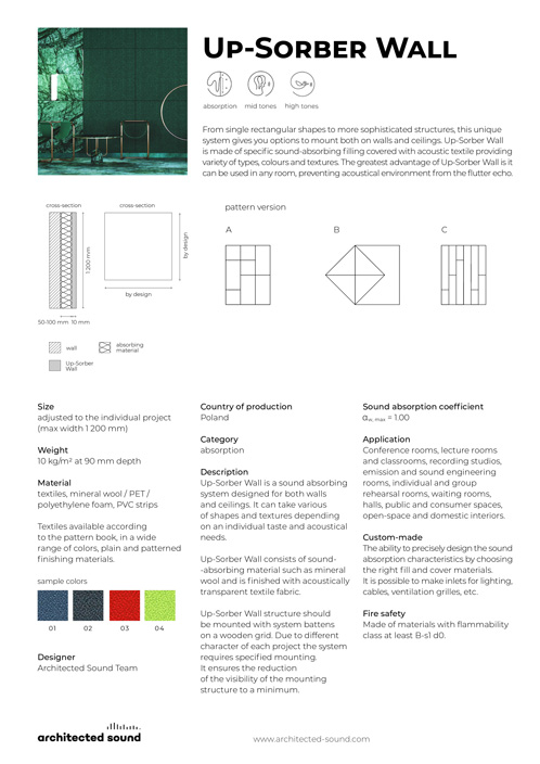 Architected Sound Up-Sorber Wall sound absorbing system - Thumbnail cover of product sheet