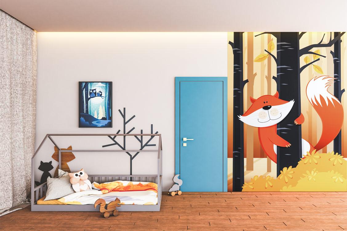 Obraz pochłanijący dźwięk Aco-ustic Painting umieszczony nad łóżkiem w pokoju dziecka.