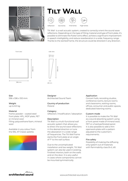 Architected Sound Tillt Wall - Sound reflecting system panel - Thumbnail cover of product sheet