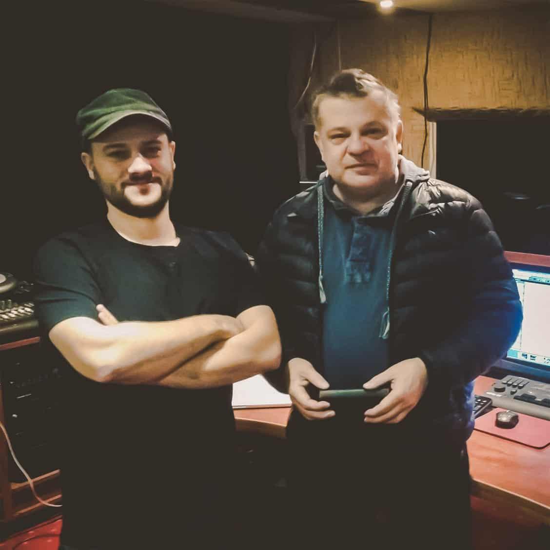 Krzysztof Globisz i Jarosław JARO Baran w studio nagraniowym Architected Sound