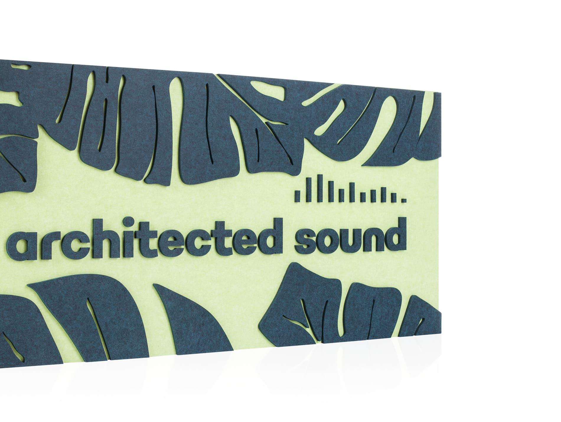 Wzór Monstery i logo Architected Sound wycięte na maszynie CNC w EcoPET
