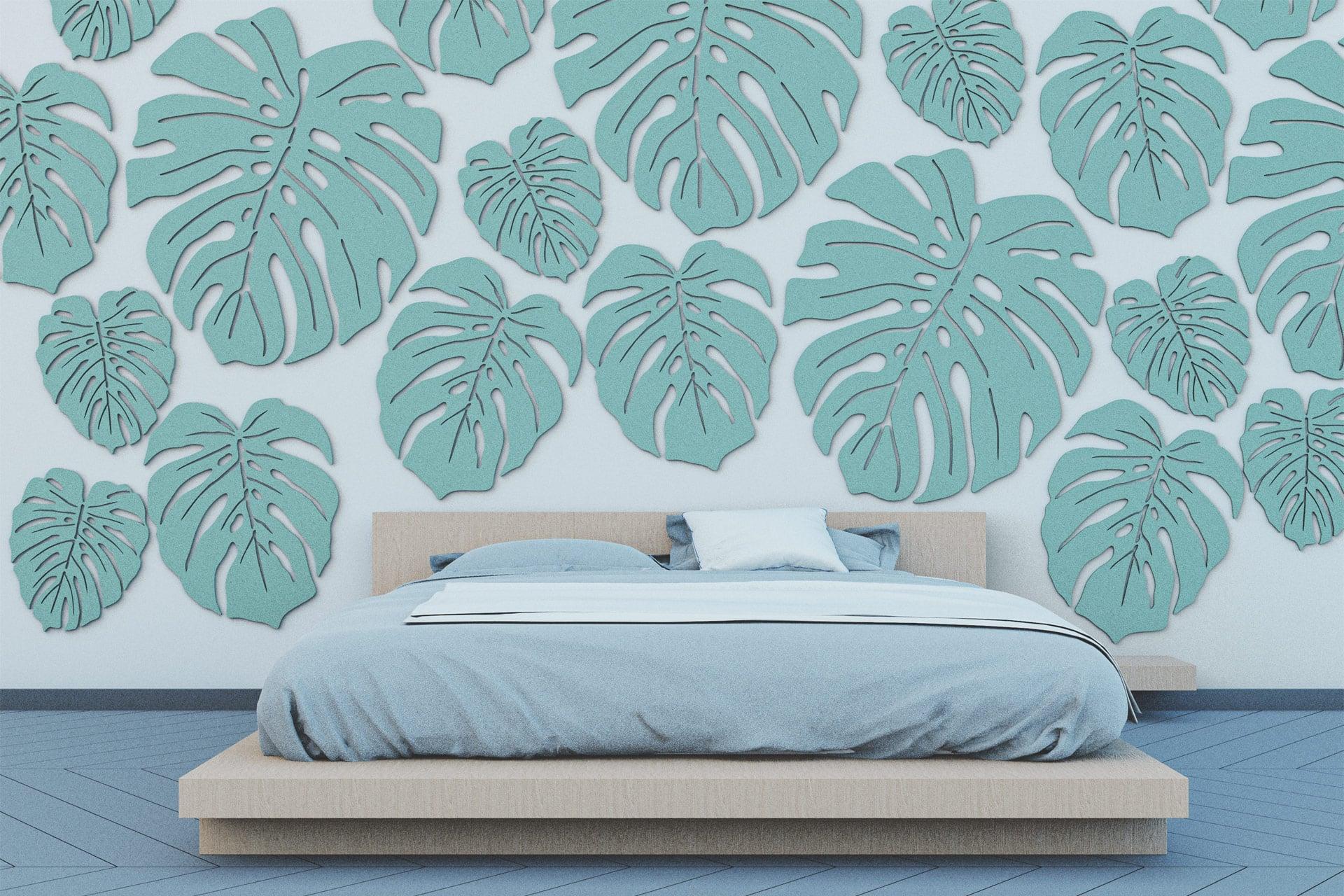 Wielkoformatowe panele ścienne EcoPET w kształcie liści monstery wyciszające sypialnię