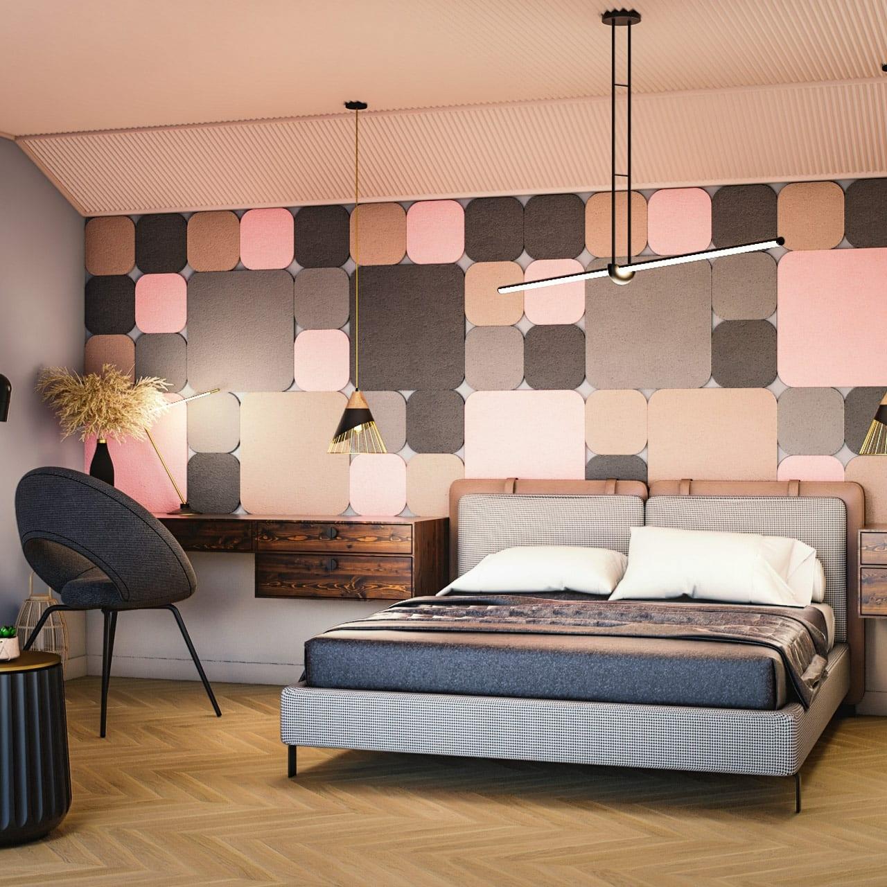 Panel dekoracyjny dźwiękochłonny EcoPET i filc EcoFelt jako wyciszenie na ścianie w sypialni