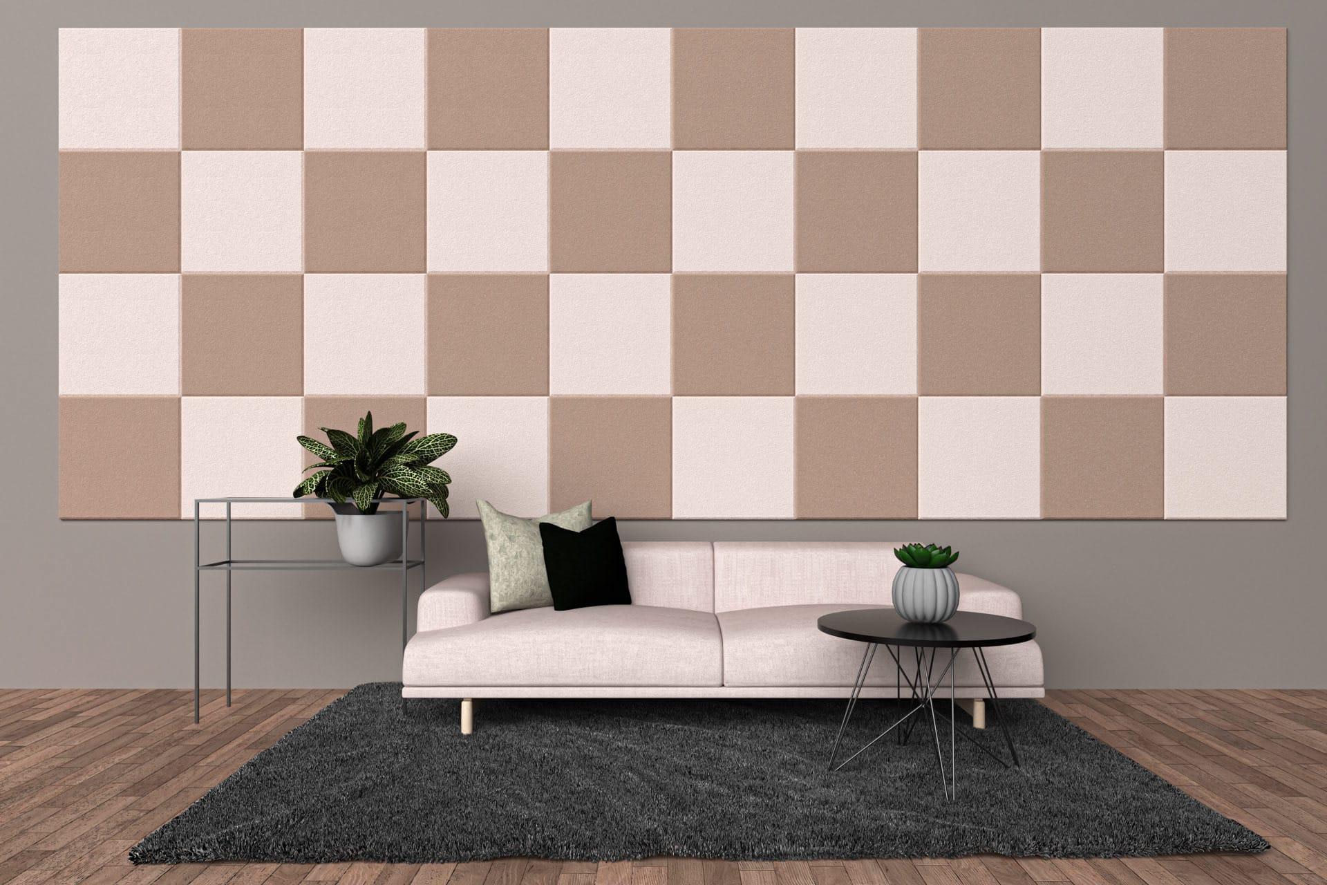 Panele dekoracyjne dźwiękochłonne w kształcie kwadratów na ścianie w salonie