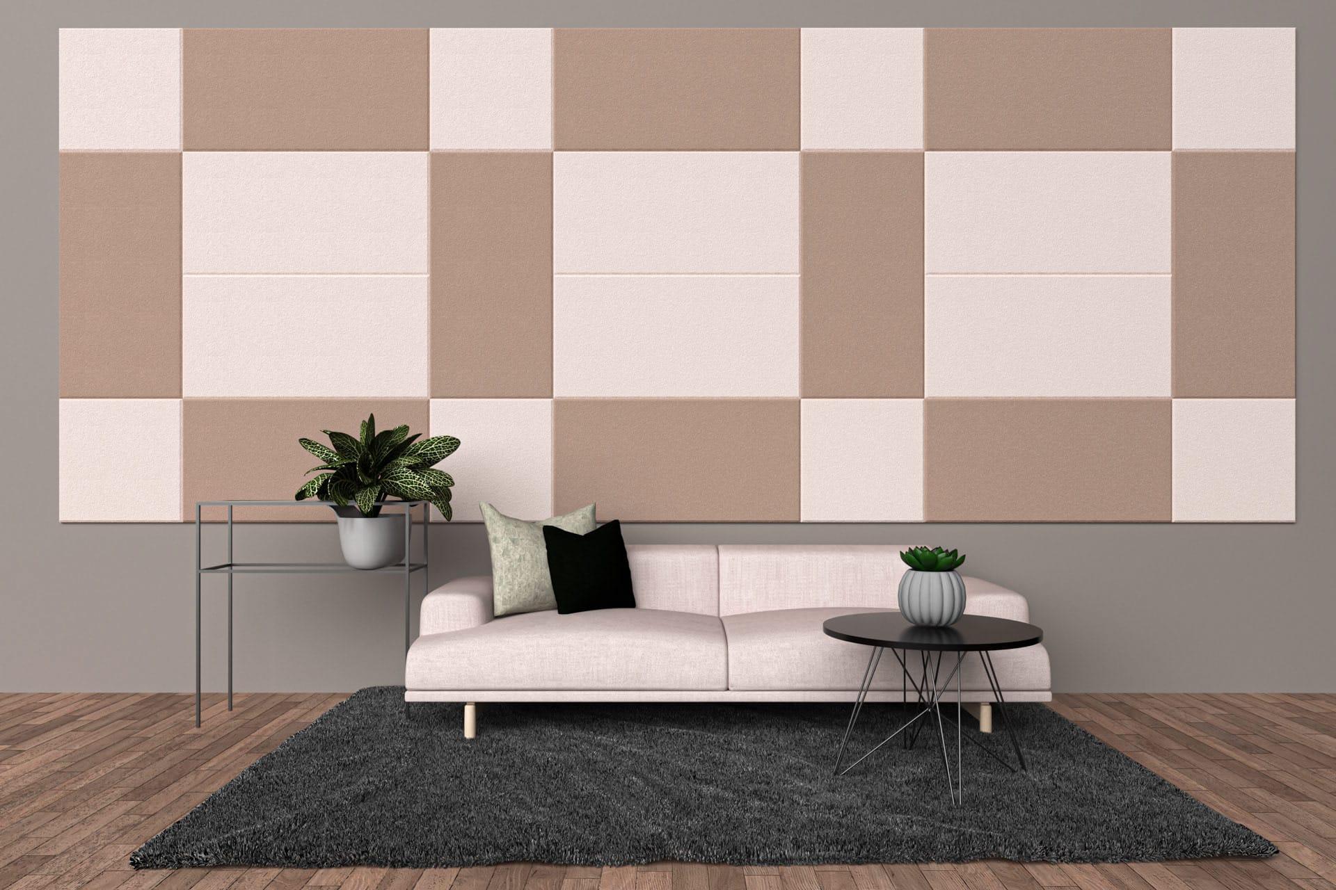 Panele dekoracyjne dźwiękochłonne w kształcie kwadratów i prostokątów na ścianie w salonie