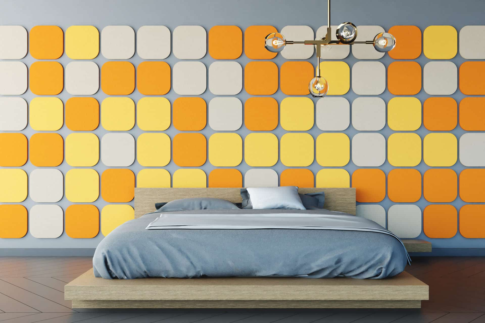Panele dekoracyjne dźwiękochłonne w kształcie zaokrąglonych kwadratów na ścianie w sypialni