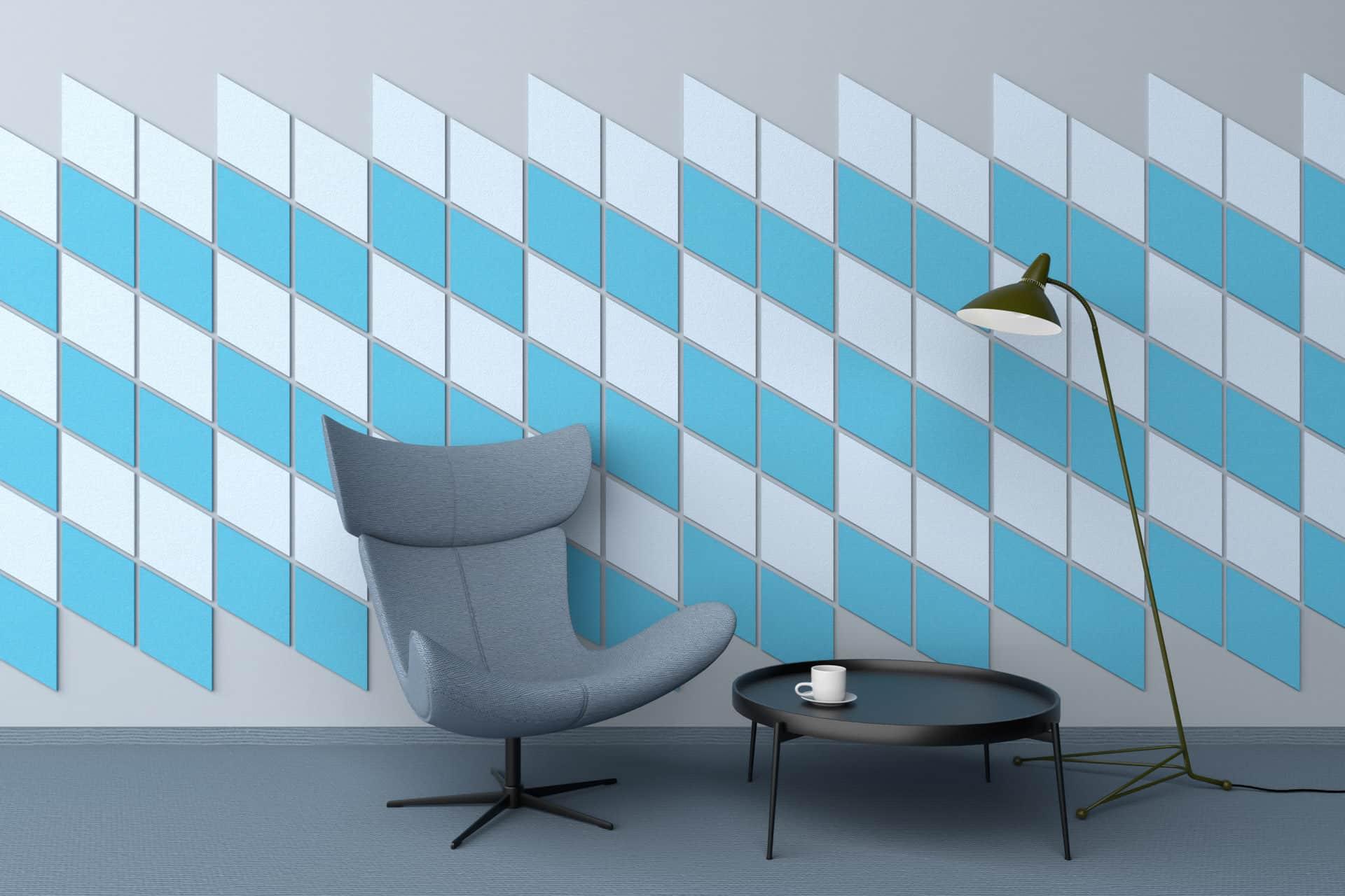 Panele dekoracyjne dźwiękochłonne w kształcie rombów na ścianie w salonie