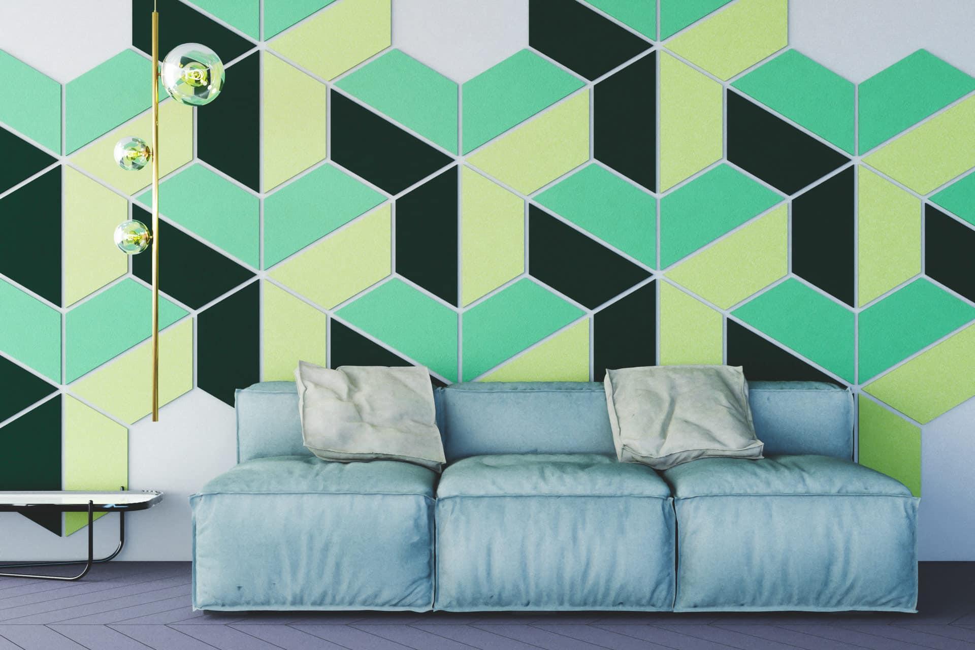 Panele dekoracyjne dźwiękochłonne w kształcie trapezu na ścianie w salonie