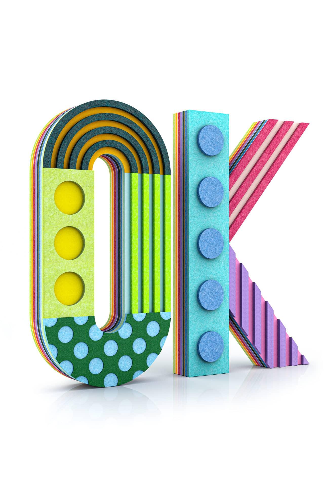 Wielowarstwowy napis 3d wykonany z paneli dekoracyjnych dźwiękochłonnych EcoPET w połączeniu z filcem EcoFelt